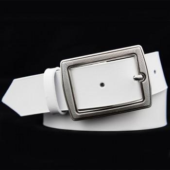 Bílý dámský kožený pásek (PD56)